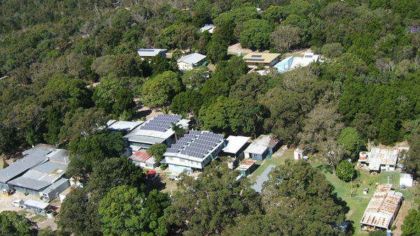 Ariel shot of roof with solar panels